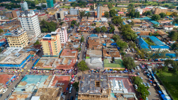 aerial view of the city of Arush City, Tanzania